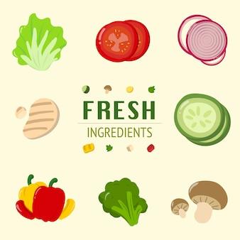 Frisches salat-bestandteil-behälter-tomaten-zwiebel-gemüse