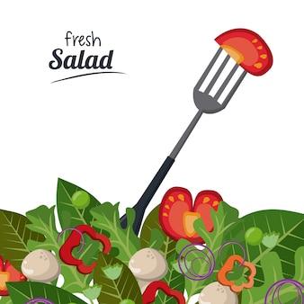 Frisches salattomate verlässt gabelbiologisches lebensmittel