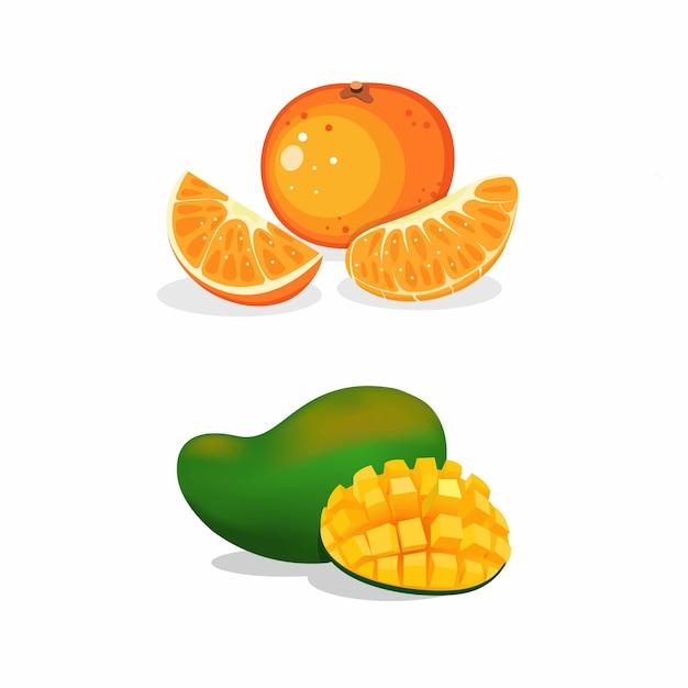 Frisches scheibenmango- und orangenfruchtsymbolsatzkonzept in realistischer illustration der karikatur