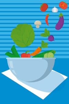 Frisches und gesundes gemüse in der schüssel