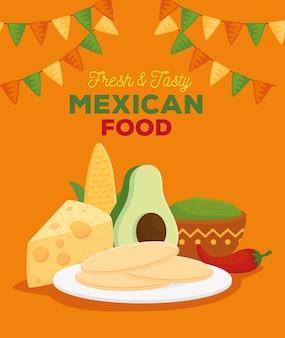 Frisches und leckeres poster mit mexikanischem essen und zutaten für die zubereitung von tacos