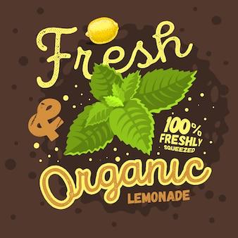 Frisches und organisches hausgemachtes limonaden-design mit einer zitrone und einem mi.