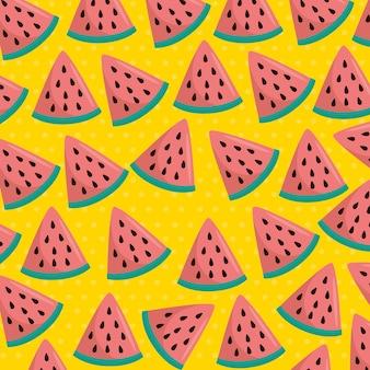 Frisches wassermelonen schneidet mustervektor-illustrationsdesign