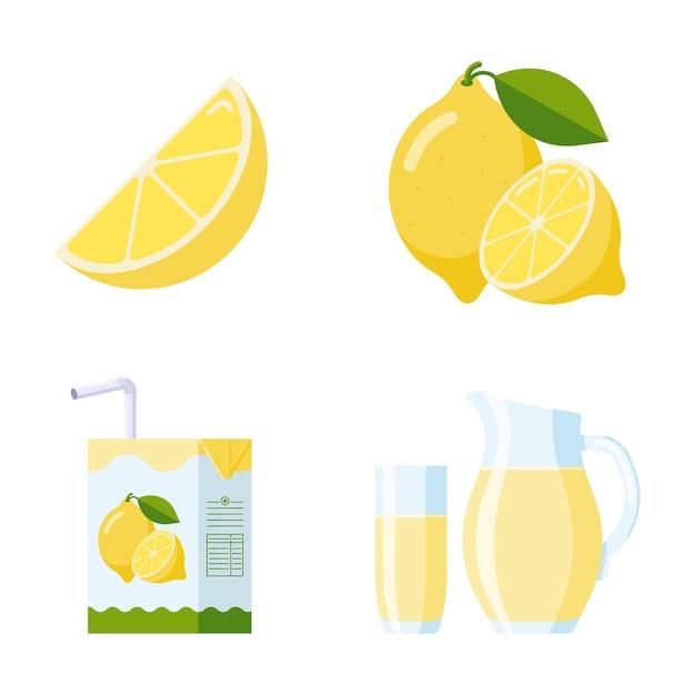 Frisches zitronenfrucht- und limonaden-set. kollektion flat style: zitronenscheibe und ganze früchte, zitronensaftverpackungen (karton, glas, krug). premium-vektor