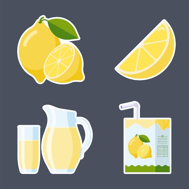 Frisches zitronenobst und limonade-aufkleber-set. kollektion flat style: zitronenscheibe und ganze früchte, zitronensaftverpackungen (karton, glas, krug). premium-vektor