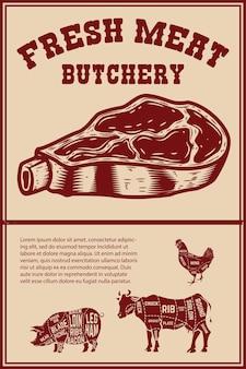 Frischfleisch. plakatschablone mit fleischschnitt auf schmutzhintergrund. vektor-illustration