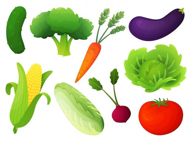 Frischgemüseset. flache artillustration der gesunden diät. getrenntes grünes lebensmittel, kann im restaurantmenü verwendet werden und bücher und biohofkennsatz kochen. konzept für web-banner, infografik