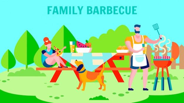 Frischluft-familien-grill-flache fahnen-schablone