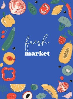 Frischmarkt-posterkarte oder druck mit obst und gemüse vitamin-c-quellen bauernhof-marktplatz