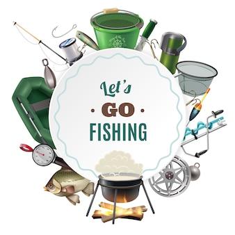 Frischwasserfischerei-sport-runde rahmen-zusammensetzung