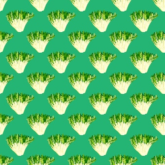 Friseesalat des nahtlosen musters auf türkishintergrund. einfache verzierung mit salat. geometrische pflanzenvorlage für stoff. design-vektor-illustration.