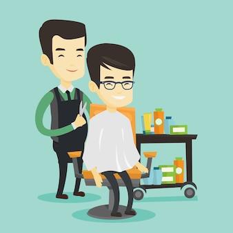 Friseur, der jungen asiatischen mann haarschnitt macht.