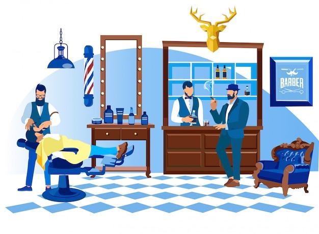 Friseur, der kunden mit geradem rasiermesser, salon rasiert