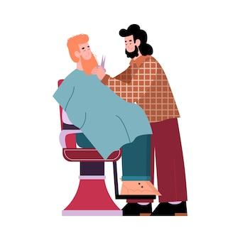Friseur, der seine flache karikaturvektorillustration seines klienten lokalisiert auf weiß rasiert