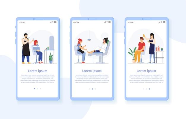 Friseur friseure vektor mobile app-set. schönheitssalon für mann und frau, die behandlung anbietet. modestudio