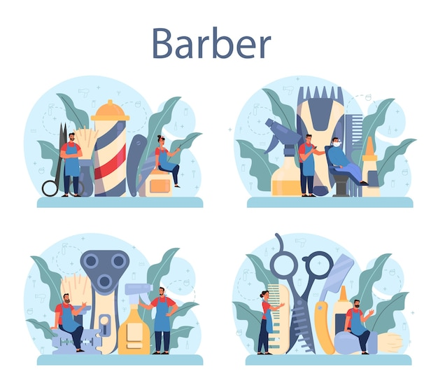 Friseur-konzeptset. idee der haar- und bartpflege. schere und pinsel, shampoo und haarschnitt. haarbehandlung und styling.