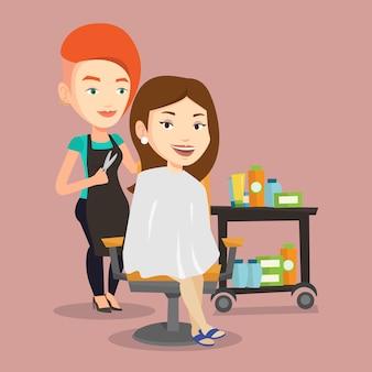 Friseur macht haarschnitt zur jungen frau.