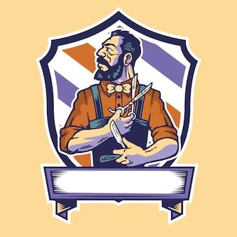 Friseur trägt schere und rasiermesser maskottchen logo