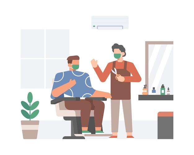 Friseur tragen gesichtsmaske