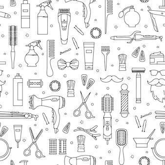 Friseur- und friseursalonwerkzeuge nahtloses muster für schönheitssalon