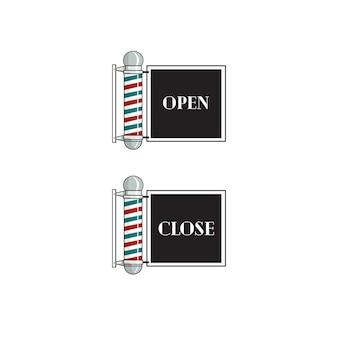 Friseur-zeichen öffnen und schließen