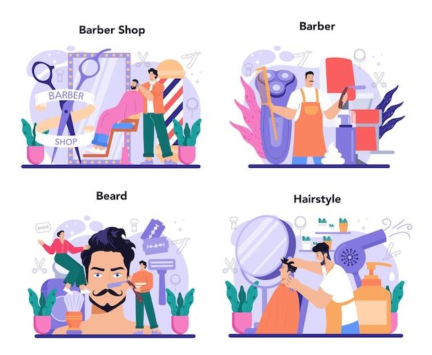 Friseurkonzept stellte idee des haar- und bartpflege-haarschneideprozesses ein