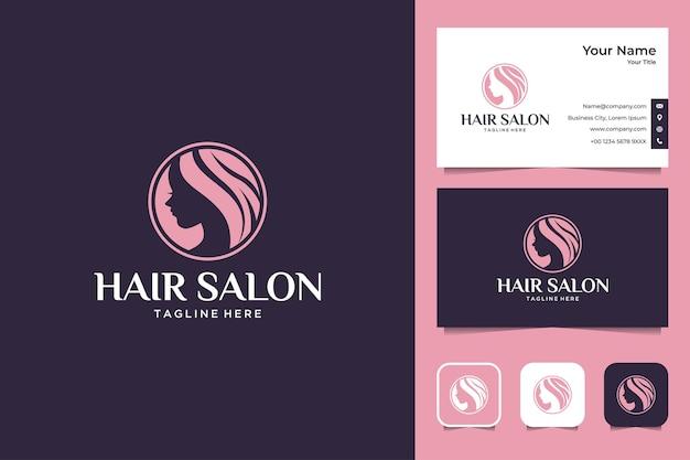 Friseursalon frauen logo-design und visitenkarte Premium Vektoren
