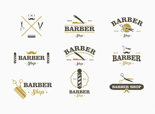 Friseursalon-logo festgelegt. elements-auflistung für logo, etiketten, embleme.