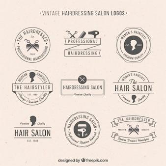 Friseursalon logos im vintage-stil