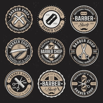 Friseursalon-satz von neun vektorfarbenen runden vintage-abzeichen