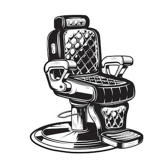 Friseurstuhlillustration auf weißem hintergrund. element für plakat, emblem, zeichen, abzeichen. illustration