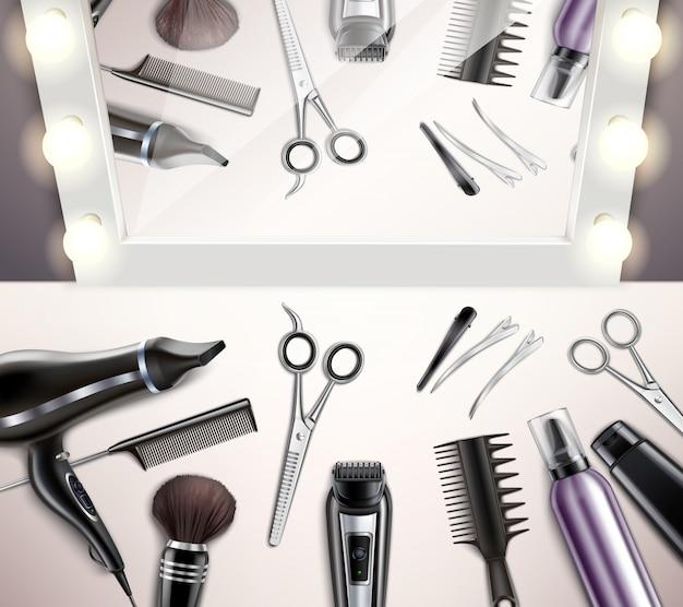 Friseurwerkzeuge für frisur und haarschnitt draufsicht realistisch