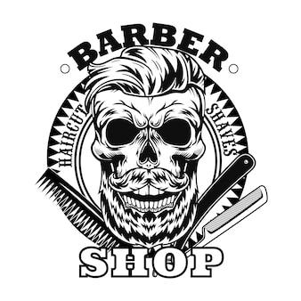 Friseurwerkzeuge und bärtige schädelvektorillustration. rasiermesser und kamm, kreisförmiger stempel mit textmuster