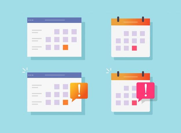 Frist benachrichtigung ereignis erinnerung auf kalender oder website bekanntmachung vektor flache cartoon icons gesetzt
