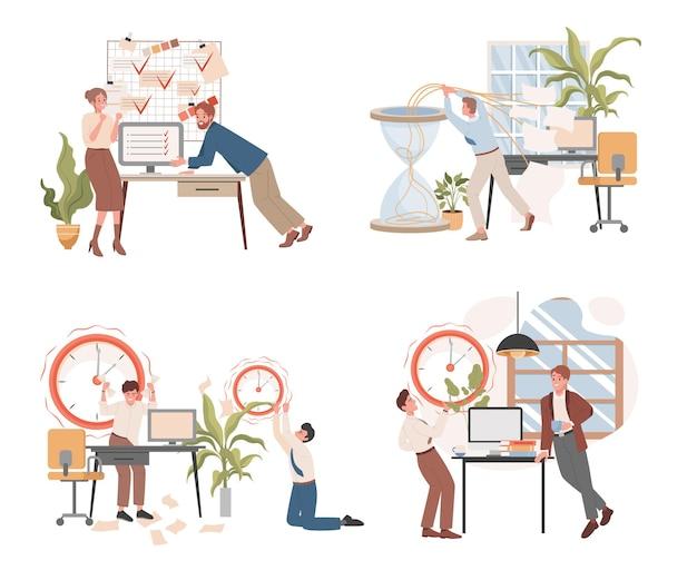 Frist- und workflow-organisation vektor flache illustration produktivität arbeitsoptimierung