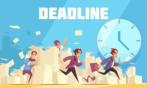 Frist vektor-illustration mit uhr und laufenden menschen, die zu spät zur arbeit kommen
