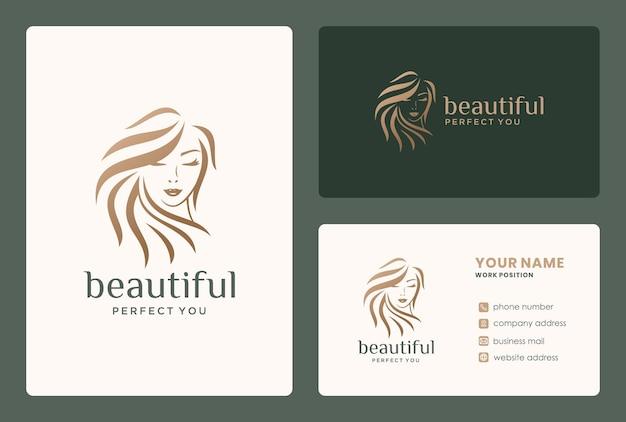 Frisur des schönheitsfrauenlogodesigns für friseur, salon, verjüngungskur, brautmake-up.