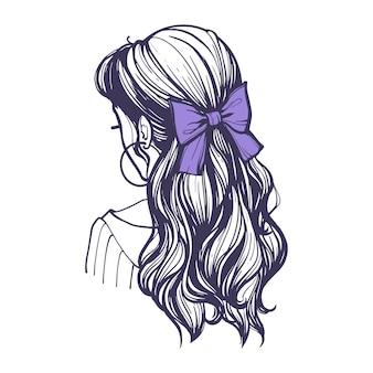 Frisur mit lila schleife auf langen haaren. schöne weibliche frisur mit haarschmuck im retro-stil. handgezeichnete vektor-illustration im doodle-stil isoliert auf weißem hintergrund.