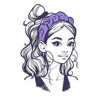 Frisur mit stirnband. porträt des modernen modernen jungen mädchens mit modischem haarschmuck. handgezeichnete vektor-illustration im doodle-stil isoliert auf weißem hintergrund.