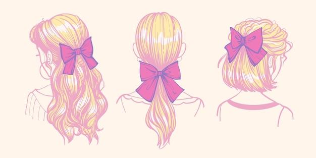 Frisuren mit schleifen und bändern. süße trendige damenfrisuren mit haarschmuck, frisurideen. satz von hand gezeichneten doodle-illustrationen von mädchen mit bögen.