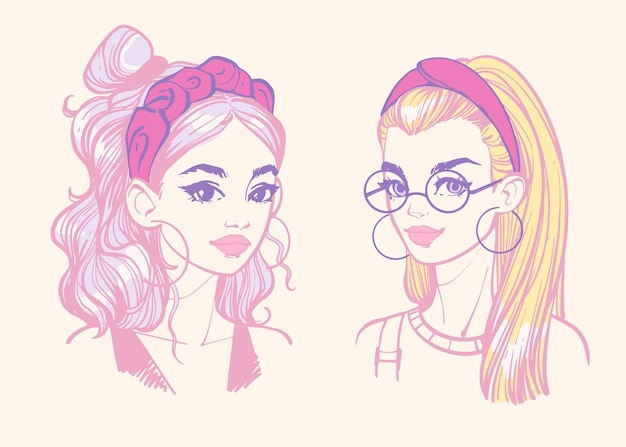Frisuren mit stirnbändern farbige portraits junger mädchen mit haarschmuck