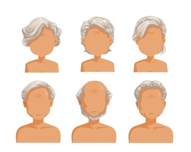 Frisurenset für ältere menschen. mann und frau frisur gesetzt.