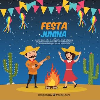 Fröhlich festa junina hintergrund der paar tanzen