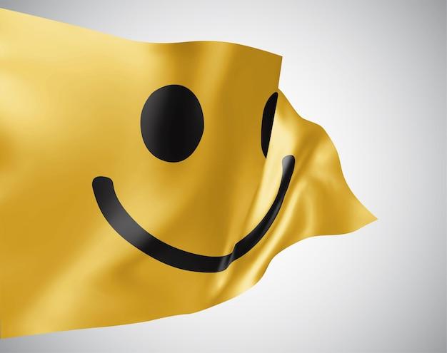Fröhlich gelbes lächeln vektor 3d-flagge isoliert auf weißem hintergrund
