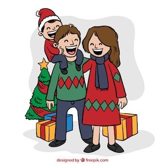 Fröhlich hand gezeichnete weihnachts familie mit geschenken