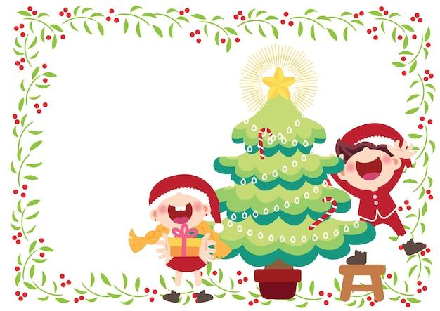 Fröhlich kinder und weihnachtsbaum illustration vektor