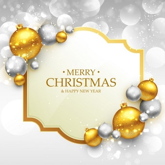 Fröhlich schablonenweihnachtsgrußkarte mit gold und silber weihnachtskugeln