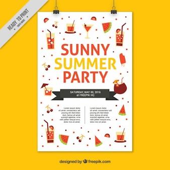 Fröhlich sommerfest-plakat mit flachen elementen