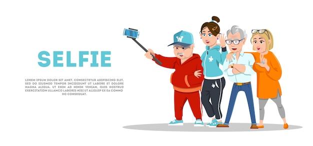Fröhliche ältere gruppe selfie