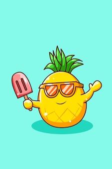 Fröhliche ananas mit eis in der sommerkarikaturillustration